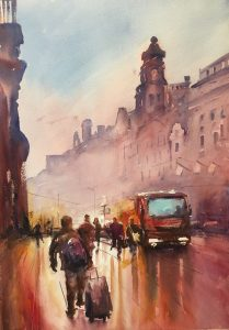 Almost at Home, watercolor by Stefan Gadnell