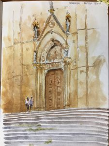 Toscany Chruch, watercolor Stefan Gadnell